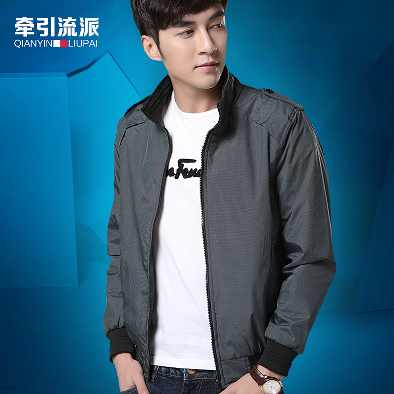 Тенденции моды корейской версии тонкой юношей упасть случайный Куртка Пальто воротник куртки пальто мужчин