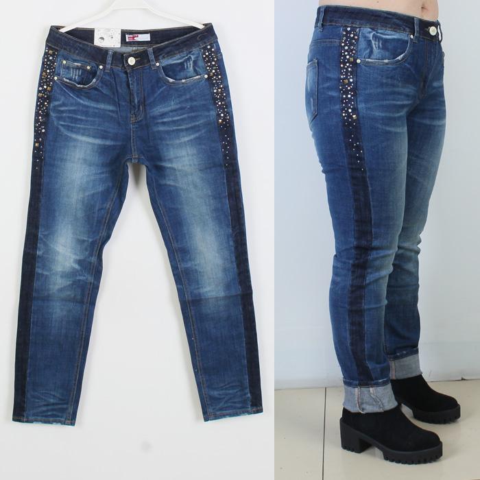 Специальное предложение плюс размер джинсов высокой талией сшивание XL брюки ноги штаны плюс удобрения 200 фунтов избыточного веса тонкий мм