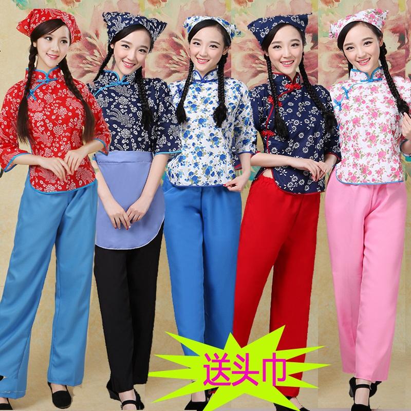 阿庆嫂演出服装民国学生装五四青年女装棉碎花采茶女村姑装