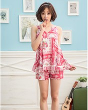 Sale of Ann with sling nightgown 2015 summer sling female cute nightgown with breast pad pajamas household to take