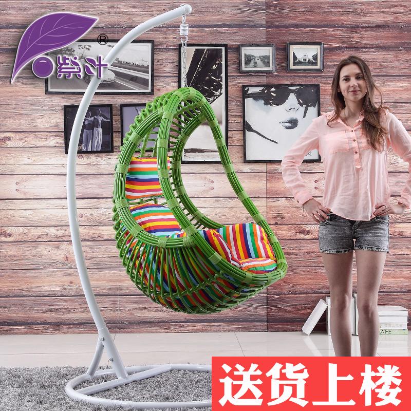 紫葉 鳥巢吊椅陽台雙人秋千室內單人搖椅戶外庭院吊籃藤椅搖籃椅