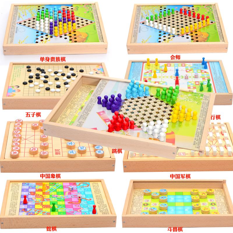 Играть лотков и лестниц. ребенок шашки деревянный многофункциональный игра шахматы пять сын шахматы шахматы джунгли шахматы головоломка для взрослых игрушка