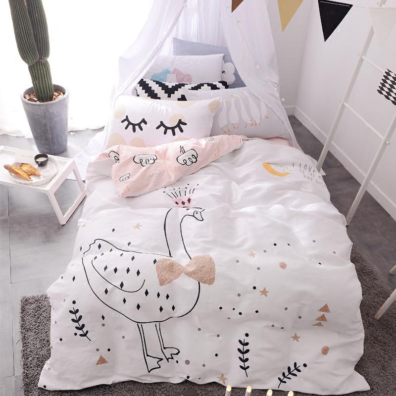Восхищаться побег хлопок четыре части хлопок кровать статьи ребенок дом студент комната с несколькими кроватями четыре части односпальная кровать одного одеяло