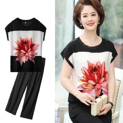 Mothers summer dress mothers suit 50 mothers Day gift clothes for women aged 30-40-45