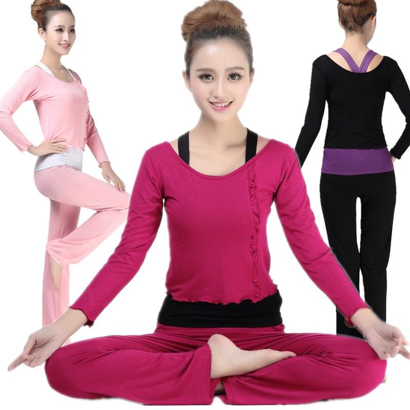 显瘦瑜伽服秋冬运动套装女三件套莫代尔舞蹈服修身练功健身服长袖