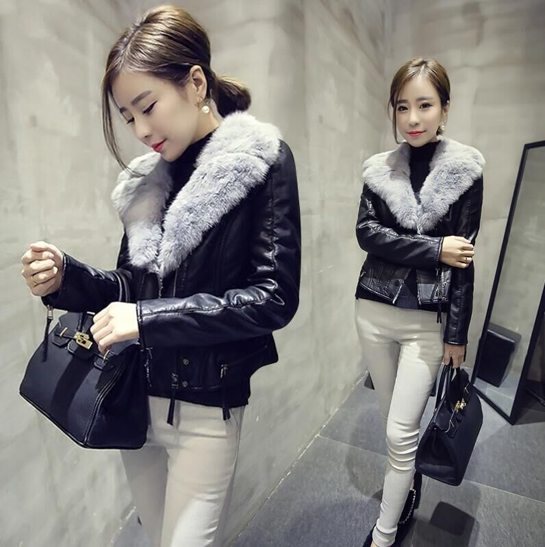 Small leather coat Plush womens short 2020 winter new Korean rabbit fur collar PU leather coat thickened Motorcycle Jacket