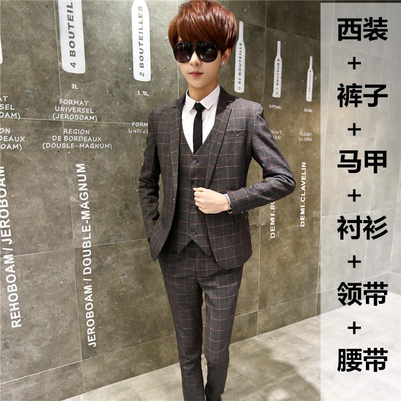 Комплект из 3 предметов весенний и осенний сезон. мужской жилет пальто костюм подростков тонкий корейский студент небольшой костюм брюки волна