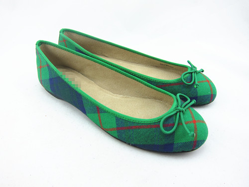Foreign trade original single classic ballet green Scotch Plaid shallow rib flat shoes womens single shoes large