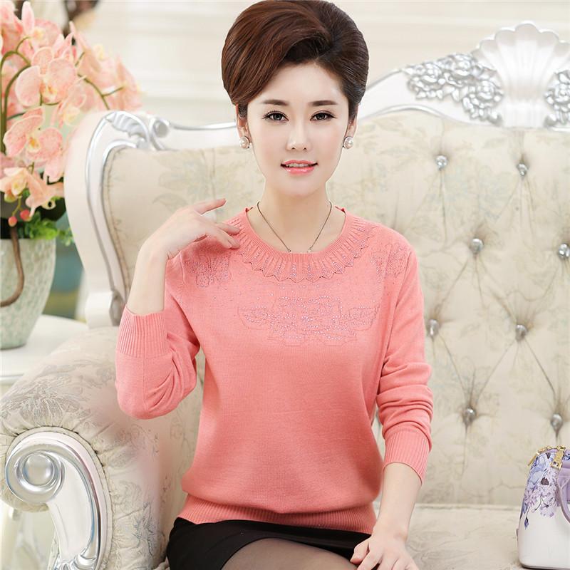 媽媽裝春裝 毛衣中老年女裝春秋薄款老年上衣長袖針織衫打底衫