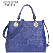 Ms fall/winter leather women bag 2015 new tide rose embossed suede cow leather bag brand women bags handbags