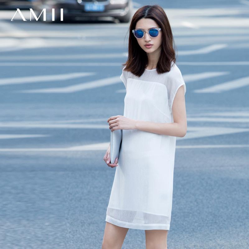 AMII [минималистский] 2015 Xia Yuan воротник шифона платье женщин улице выдалбливают большие простые юбки от Kupinatao