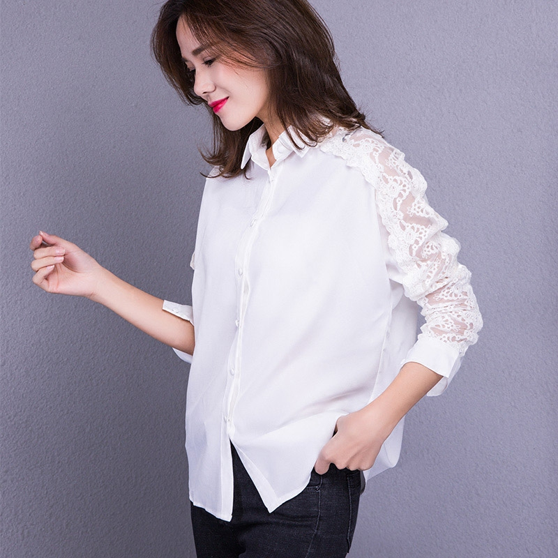 Loose white shirt womens spring new Korean style top showing thin large womens lace splicing long sleeve casual blouse