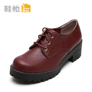 Shoebox shoe fall 2015 new Europe and casual women's shoes in thick-soled tie square head with dark shoes