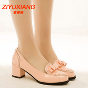 C fall of crude with high heel shoes shallow bow casual women high heel women's shoes bags-mail
