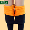 High-waisted black leggings female autumn and winter feet pencil 2017 new fall and winter outer wear plus thick velvet pants