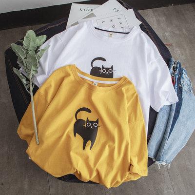 2017夏小猫印花bf风宽松短袖T恤 3505-P35