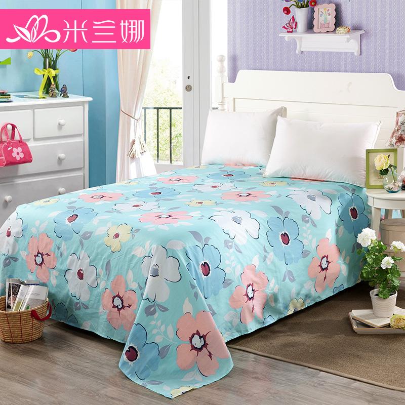 米蘭娜純棉床單單件 全棉花邊床罩床套 單雙人1.5 1.8米床蓋單件