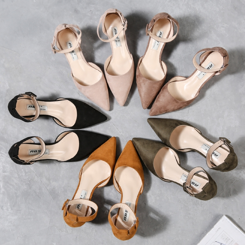 High heeled shoes womens thick heels new spring 2017 new fashion pointy single shoes suede one line buckle strap womens shoes