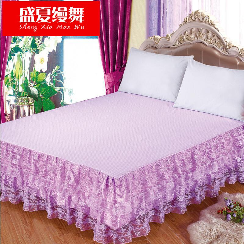 盛夏縵舞床裙韓式印花公主蕾絲床罩1.5 1.8米 床笠床墊保護罩床單