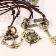 Cool Retro art na abacus pendant leather cord lock keys the cross pendant long necklace sweater chain 4060