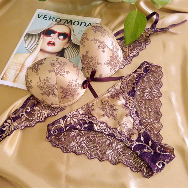 Специальные предложения по электронной почте фиолетовый белье Топ французского бренда Кинг шелка печати сексуальный кружевной бюстгальтер набор
