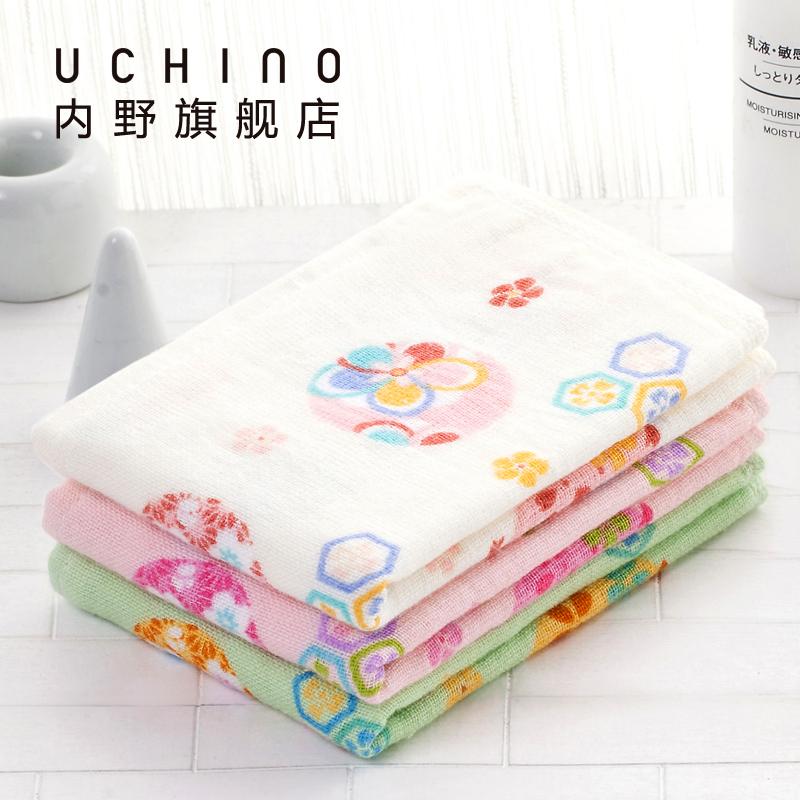 uchino内野花花世界纱布洗脸巾手帕纯棉方巾成人儿童小毛巾哺乳巾