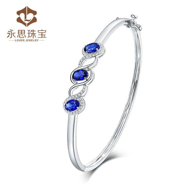 Yongsi jewelry 1.5 carat 18K gold color gem Natural Sapphire Bracelet with 19 point diamond