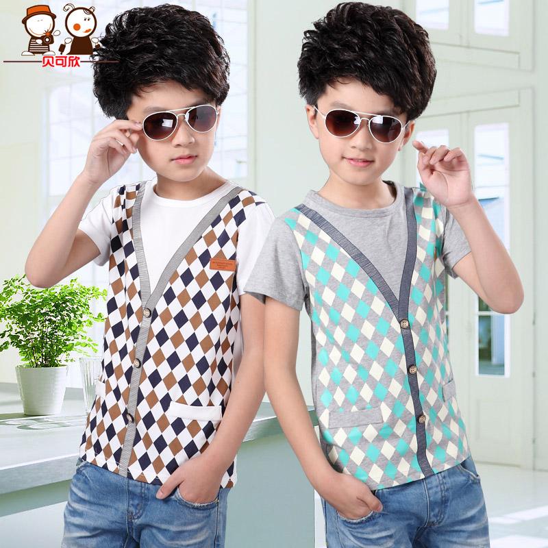 【】【清仓】贝可欣 7101 男童格子假两件短袖T恤 低限价29.9元