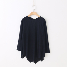 Flashy. Qiu han edition installs a new T-shirt with long sleeves loose irregular thin solid color the European and American wind knitting render unlined upper garment