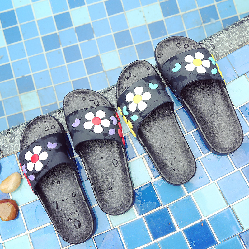 涼拖鞋女 家居室內防滑居家用平底 潮流立體花朵外穿夏拖