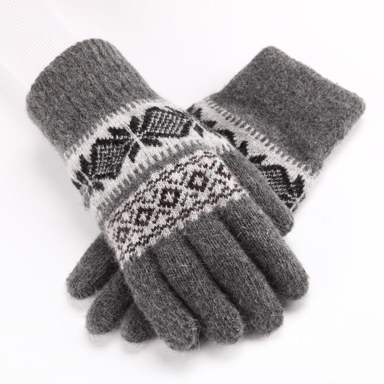 包邮羊毛手套女男冬天分指双层加厚羊绒保暖针织情侣骑车