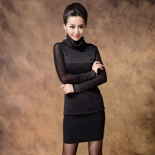 Autumn 2015 new new winter Korean yards repair tall collar long sleeved shirt blouses