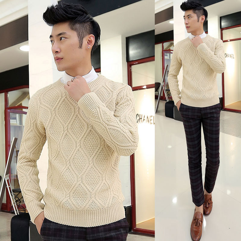 Exclusive classic popular mens sweater hand woven diamond pure cashmere high-end Korean mens sweater trend