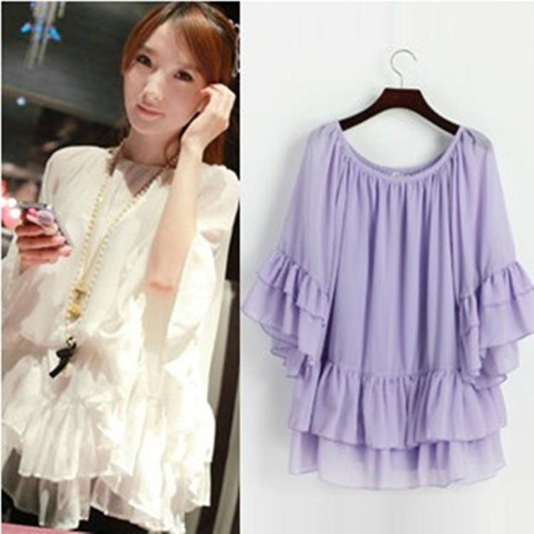 Korean Chiffon Dress Large womens loose chiffon shirt bat sleeve pullover with belt womens summer thin