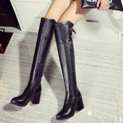 Europe and the rough side zipper high heel pointy belt buckle skinny women long boots and over the knee boots winter boots leather winter boots