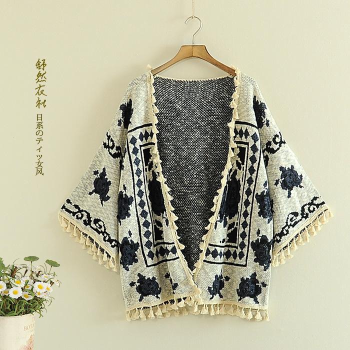 к 2015 году падение пять минут новый ретро v-образным вырезом рукава loose кисточкой вязать свитер хлопка кардиган свитер пальто женщин