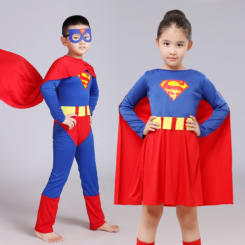61 Halloween Costume parent-child show Cosplay Superman costume childrens and mens cloak tights