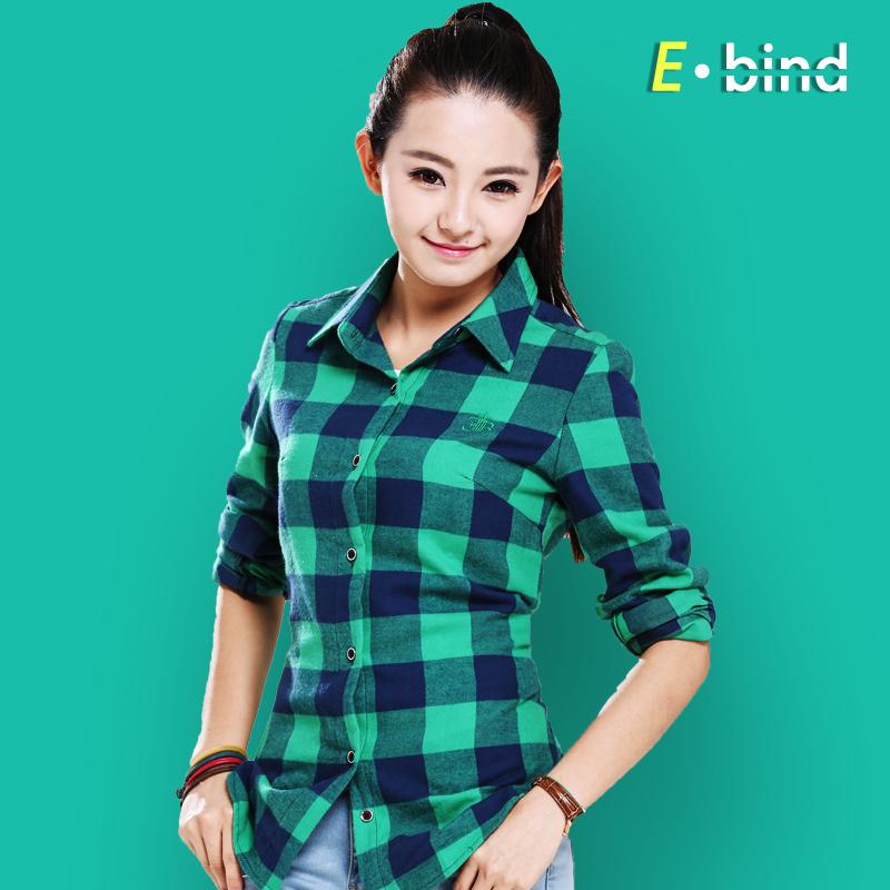 纯棉 修身韩版学生休闲潮格子打底衫秋装女装 长袖 衬衫 女衬衣
