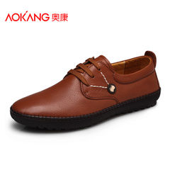 Spring and autumn aokang shoes men Korean breathable casual shoes leather lace trend Doug shoes men