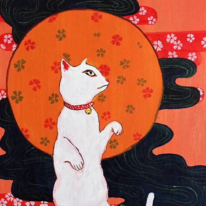Дерево панель Ручная роспись иллюстрации декоративная живопись кошка гостиная комната обстановка ukiyo-e бесплатная доставка по китаю