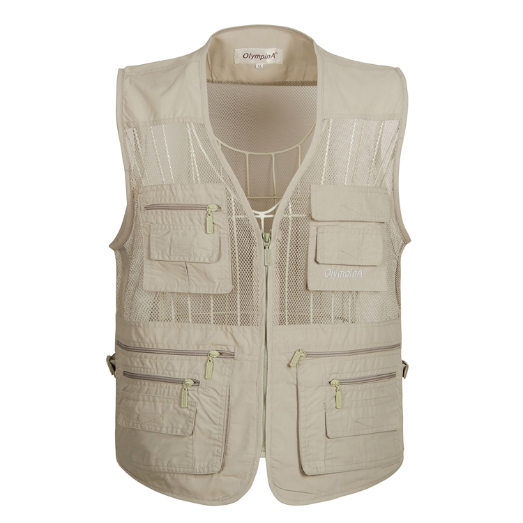 Summer middle aged and old mens waistcoat mens oversize Multi Pocket mesh breathable quick drying waistcoat