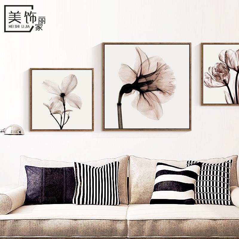 簡約客廳裝飾畫三聯室內沙發背景牆掛畫餐廳床頭畫臥室透明花