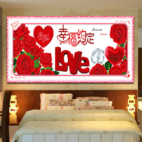 New pure manual hand embroidered cross stitch finished product happy agreement affectionate living room bedroom wedding picture