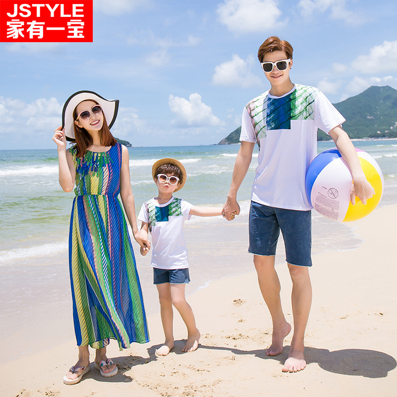 [popular package mail] family has a mother dress for parents and children - Striped chiffon dress short sleeve T-shorts suit