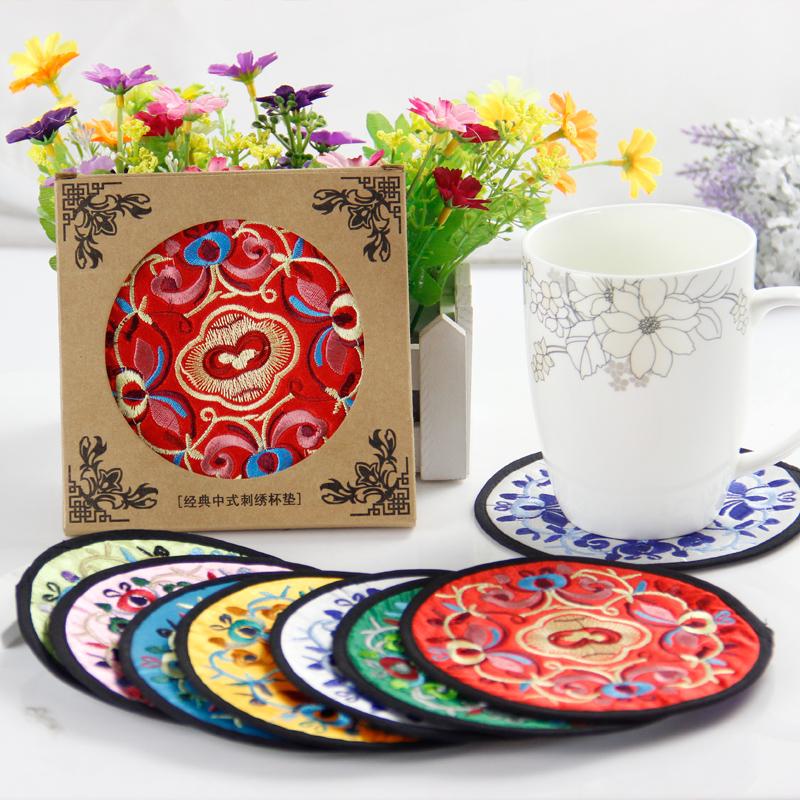 Китайский стиль Вышивка Ткань Coaster Вышитые шелковые китайские характеристики Иностранные подарки Иностранные подарки в подарок иноземец