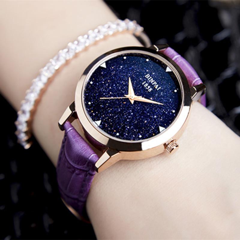 宾派正品星际手表,璀璨星际玫瑰金女表,女时尚潮流女士手表,防水时尚款女2018新款石英表