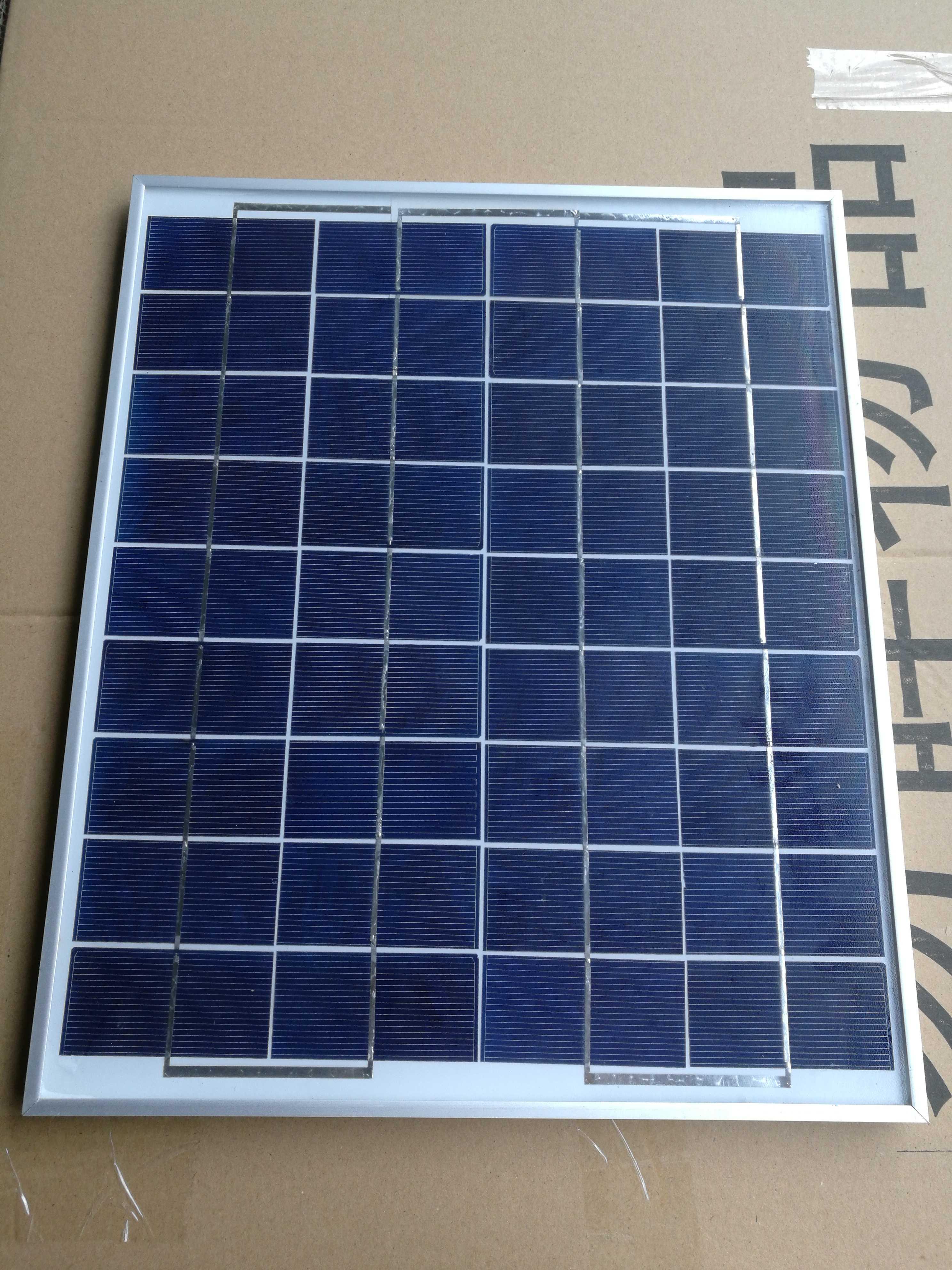 多晶20W太阳能电池板板光伏发电板给12V电瓶充电部分地区包邮