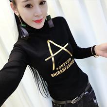 秋冬加绒网纱蕾丝衫长袖2019潮t恤