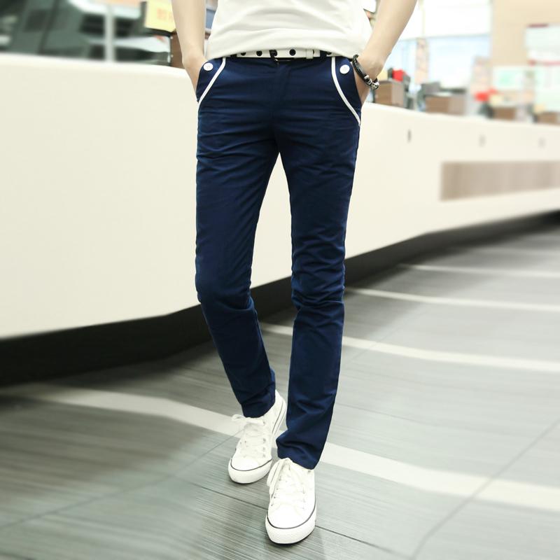 男士 褲 新薄款潮男修身直筒長褲子夏 青少年 透氣小腳