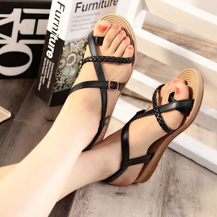 显瘦 夏季 套趾休闲女凉鞋 时尚欧美 平跟罗马平底学生沙滩女鞋潮